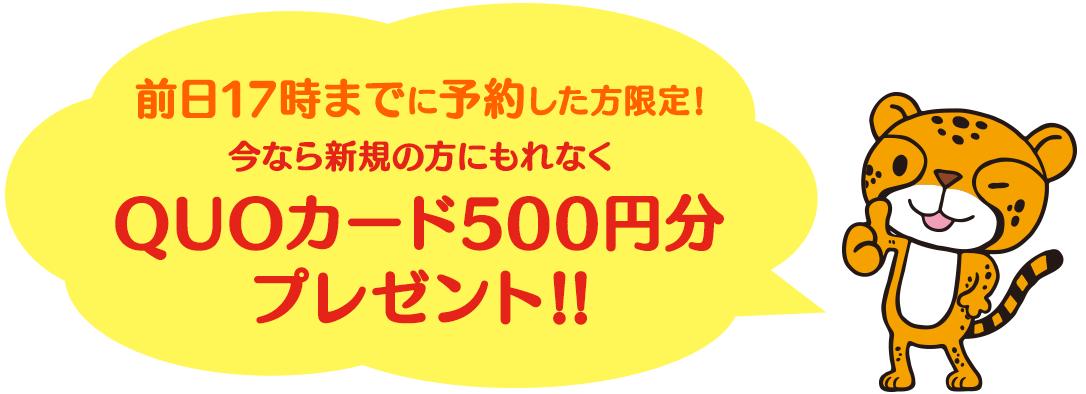 今なら新規の方にもれなくQUOカード500円分プレゼント!